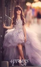 Prinzessin Hoch Niedrig Juwel Dunkel Lila Kinder Mädchen Kleid CH0158