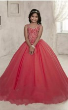 Juwel ärmellose Rote Kinder Ballkleider Chk006