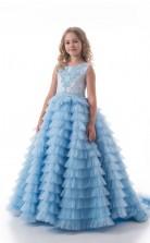 Juwel ärmellose Power Blue Kinder Ballkleider Chk015
