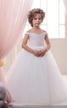 Schulterfreie ärmellose Weiße Kinderballkleider Chk044