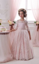 Illusion 3/4 Länge Ärmel Süßigkeiten Rosa Kinder Ballkleider Chk045