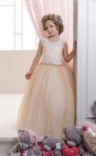Juwel ärmellose Burlywood Kinder Ballkleider Chk050