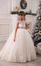 Tüll Prinzessin Illusion ärmelloses Blumenmädchen Kleid Chk136