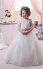 Tüll, Spitze Prinzessin Illusion Halben Ärmel Blumenmädchen Kleid Chk138