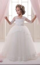 Tüll, Spitze Prinzessin Illusion Halben Ärmel Blumenmädchen Kleid Chk139