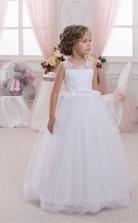 Tüll, Spitze Prinzessin Illusion ärmellose Kinder Hochzeitskleid Chk141