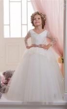 Tüll, Spitze Prinzessin V-ausschnitt Langarm Kinder Brautkleid Chk142