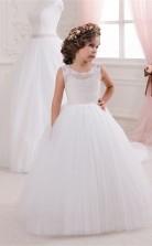 Tüll, Spitze Prinzessin Illusion ärmellose Kinder Hochzeitskleid Chk149