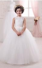 Tüll, Spitze Prinzessin Illusion ärmellose Kinder Hochzeitskleid Chk150