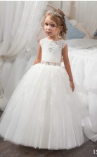 Tüll, Spitze Prinzessin Juwel ärmellose Kleider Für 7 Jahre Chk160