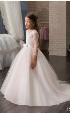 Tüll, Spitze Prinzessin Juwel Langarm Mädchen Abendkleider Chk161
