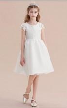 Kurze Weiße Pricess Girl Prom Kleider Mit Kurzen ärmeln Chk168