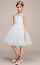 Weiße Illusion Schatz Kinder Blumenmädchen Kleider Chk170