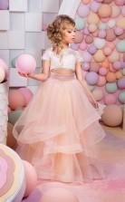 Reizendes Kleinkindrosa Zweiteiliges Ballkleid Blumenmädchenkleid Spitzenmädchen Festzugskleider Chk173