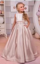 Einfache Satin Kinder Mädchen Zweiteilige Formelle Kleid Festzug Kleid Mit Tasche Chk175