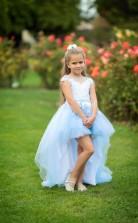 Hoch Niedrig Prinzessin Hellblau Blumenmädchen Kleid Mädchen Festzug Kleid Geburtstagskleider - Chk178