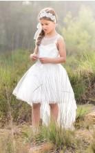 Prinzessin High Low Festzug Kleid Kinder Mädchen Abendkleid Blumenmädchen Kommunion Kleider Mit Spitzenriemen 3-14 Jahre Chk179