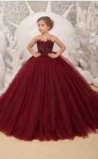 Burgunder Mädchen Festzug Kleider Ballkleid Hochzeitsparty Kleid Kinder Abend Abschlussball Kleid Chk182