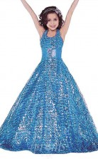Blaues ärmelloses Bodenlanges A-linien-kinderballkleid Mit Paillettenhalfter (FGD273)