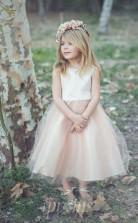 Perlrosa Organza Juwel ärmelloses Tee-länge Prinzessin Kinder Ballkleid (FGD280)