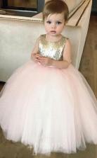Süßigkeiten Rosa Tüll Pailletten Juwel ärmellose Knöchellange Ballkleid Kinder Ballkleid (FGD282)