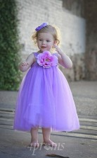 Leavender Tüll Juwel ärmellose Tee Länge Prinzessin Kinder Ballkleid (FGD285)