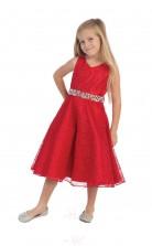 Rotes ärmelloses A-linien-abendkleid Für Kinder Mit V-ausschnitt Und V-ausschnitt (FGD293)