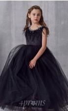 Schwarzes Tülljuwel Kurzarm Bodenlanges Prinzessin-kinderballkleid (FGD301)