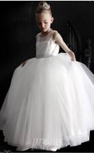 Weiße Tüllspitze Illusion ärmelloses Bodenlanges Prinzessin Kinder Abendkleid (FGD302)