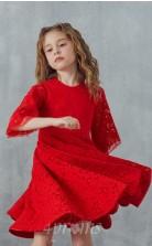 Rotes Spitzenjuwel Halbarm Mini A-linie Kinder Ballkleid (FGD305)