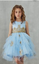 Himmelblaues Tüll Satin Juwel ärmelloses Mini Prinzessin Kinder Ballkleid (FGD306)