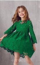 Grünes Spitzenjuwel 3/4 Länge Ärmel Mini A-linie Kinder Ballkleid (FGD308)