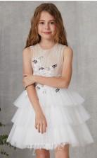 Weißes Spitzen Tüll Juwel ärmellose Mini Prinzessin Kinder Ballkleid (FGD310)