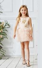 Leichtes Champagner Satin Spitze Juwel ärmelloses Mini Prinzessin Kinder Ballkleid (FGD313)