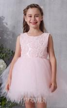Errötendes Rosa Spitzen Tüll Juwel ärmelloses Mini Prinzessin Kinder Ballkleid (FGD314)