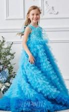 Blaues ärmelloses Bodenlanges A-linien-kinderballkleid Aus Organza-juwel (FGD315)