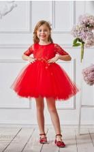 Rote Spitze Tüll Juwel Kurzarm Mini Prinzessin Kinder Ballkleid (FGD318)