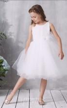 Weißes Spitzen Tüll Juwel ärmelloses Knielanges Prinzessin Kinder Ballkleid (FGD319)