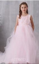 Errötendes Rosa Spitzen Tüll Juwel ärmelloses Bodenlanges Prinzessin Kinder Ballkleid (FGD322)