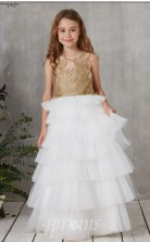 Weiße Tüllillusion ärmelloses Bodenlanges Prinzessin-kinderballkleid (FGD324)