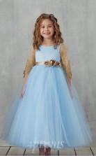 Himmelblaue Spitze Tüll Juwel Halbe Ärmel Tee Länge Prinzessin Kinder Ballkleid (FGD325)