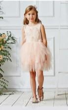 Perlrosa Tüll Juwel ärmellose Mini Prinzessin Kinder Ballkleid (FGD327)