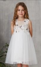 Elfenbein Tüll Juwel ärmellose Mini Prinzessin Kinder Ballkleid (FGD328)