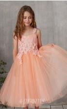Trägerloses ärmelloses, Teelanges Prinzessin-kinderballkleid Aus Rosa Tüll (FGD329)