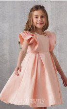 Rosa Satin Juwel Kurzarm Mini Prinzessin Kinder Ballkleid (FGD333)