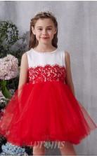 Rotes Spitzen Tüll Juwel ärmellose Mini Prinzessin Kinder Ballkleid (FGD336)