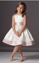 Süßes A-line Knielanges Weißes Blumenmädchenkleid FGD439