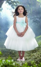 New Style Prinzessin Knöchellanges Weißes Blumenmädchenkleid FGD443