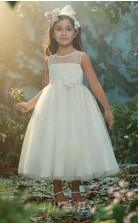 Neuer Stil 1-7 Jahre Baby Mädchen Kommunion Kleid Knöchellangen Weißen Blumen Mädchen Kleid FGD448