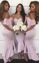 Schulterfreie Meerjungfrau Ballkleider High-low Spitze Brautjungfernkleider Bride GD01462